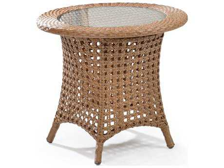 Palm Springs Rattan 6700 Series 21.5 x 24 Round  End Table w/ Glass Top