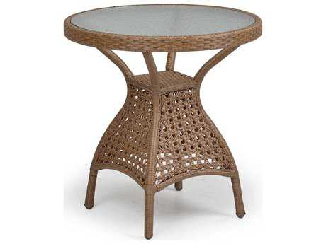Palm Springs Rattan 6700 Series 28.5 x 28 Round  Bistro Table w/ Glass Top