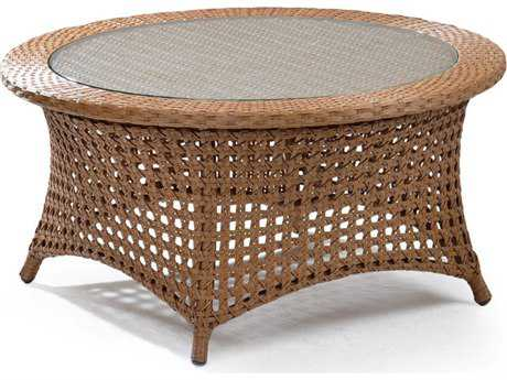 Palm Springs Rattan 6700 Series 18 x 36 Round  Cocktail Table w/ Glass Top