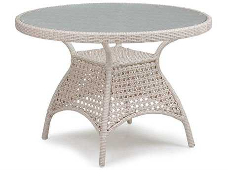 Palm Springs Rattan 6700 Series 28.5 x 42 Round  Dining Table w/ Glass Top PatioLiving
