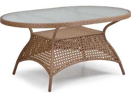 Palm Springs Rattan 6700 Series 28.5 x 40 Oval  Dining Table w/ Glass Top