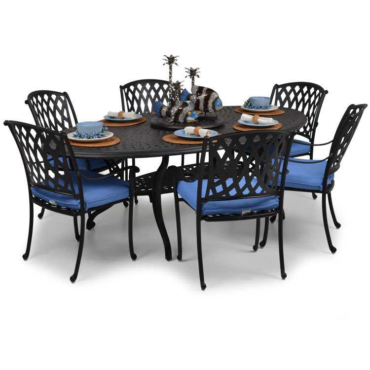 Palm Springs Rattan Cast Aluminum 7100 Series Dining Set