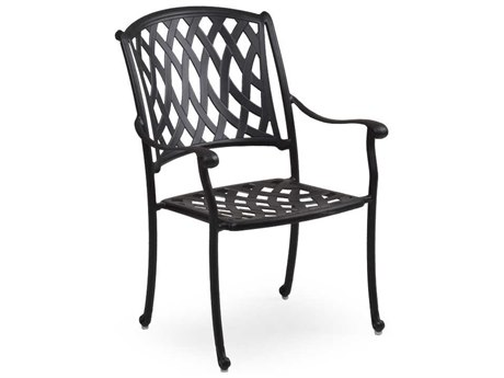 Palm Springs Rattan Oxford Cast Aluminum Weathered Black Dining Arm Chair