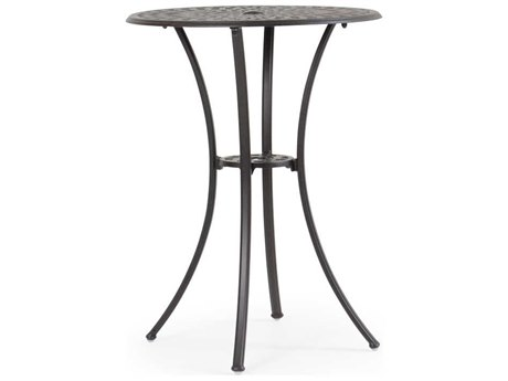 Palm Springs Rattan Cast Aluminum 7100 Series 30 Round Weathered Black Bar Table w/ umbrella hole
