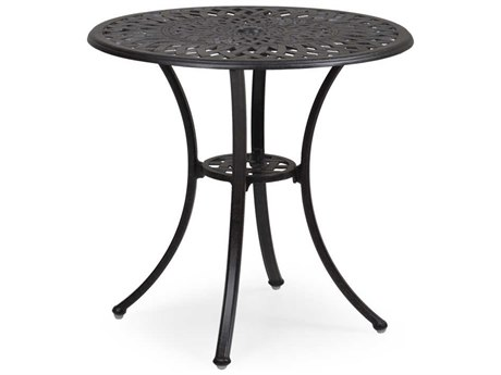 Palm Springs Rattan Oxford Cast Aluminum Weathered Black 30''Wide Round Bistro Table with Umbrella Hole
