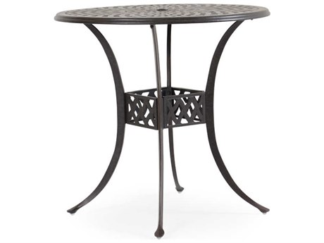 Palm Springs Rattan Cast Aluminum 7100 Series 42 Round Weathered Black Bar Table w/ umbrella hole