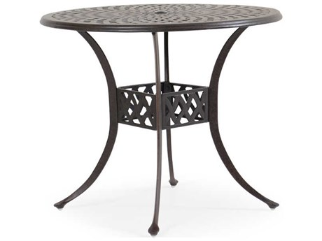 Palm Springs Rattan Cast Aluminum 7100 Series 42 Round Weathered Black Counter Table w/ umbrella hole
