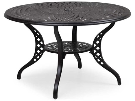 Palm Springs Rattan Cast Aluminum 7100 Series 40 Round Weathered Black Dining Table w/ umbrella hole