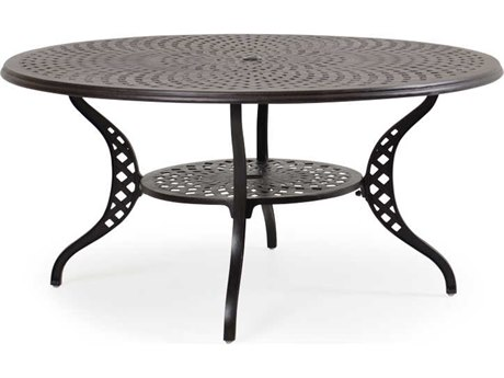 Palm Springs Rattan Cast Aluminum 7100 Series 60 Round Weathered Black Dining Table w/ umbrella hole