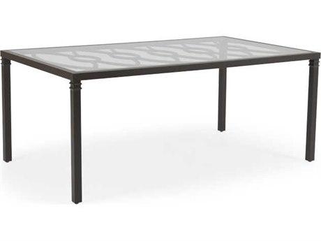 Palm Springs Rattan Camden Aluminum 72''W x 42''D Rectangular Glass Top Dining Table