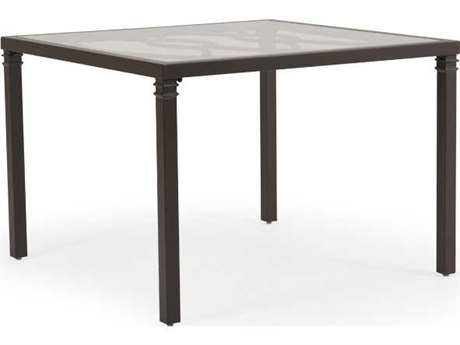 Palm Springs Rattan Camden Aluminum 43''Wide Square Glass Top Dining Table