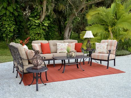 Palm Springs Rattan Dauphine Cast Aluminum Lounge Set