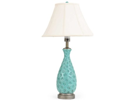 Palm Springs Rattan Outdoor Lighting Ceramic Style Teal Table Lamp with Silver Accents