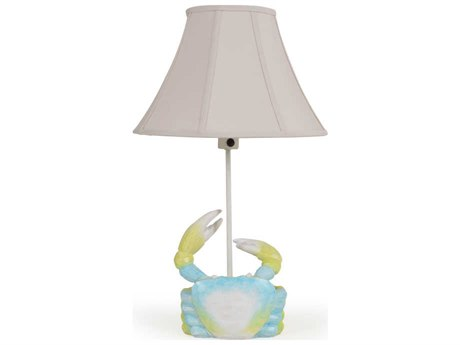 Palm Springs Rattan Outdoor Lighting Blue Crab Wood Carving Table Lamp