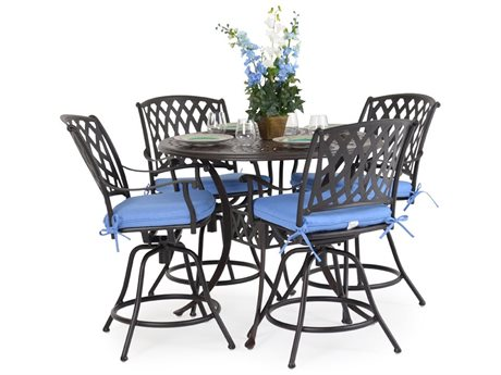 Palm Springs Rattan Oxford Cast Aluminum Counter Set