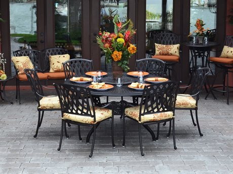 Palm Springs Rattan Oxford Cast Aluminum Dining Set