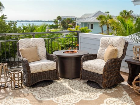 Palm Springs Rattan Riverside Wicker Fire Pit Lounge Set