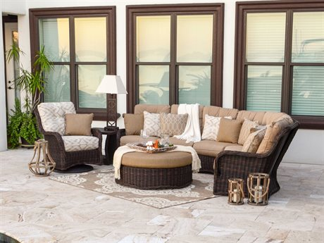 Palm Springs Rattan Riverside Wicker Sectional Lounge Set