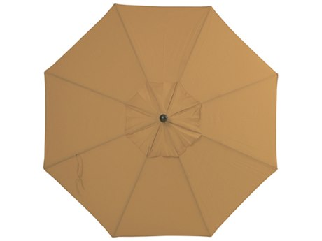 Palm Springs Rattan Aluminum 9 Market Umbrella Auto Tilt Straw Linen Acrylic Venetian Gold