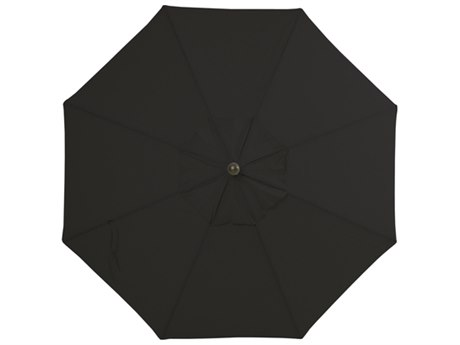 Palm Springs Rattan Aluminum 9 Market Umbrella Push Button Tilt Black Olefin Venetian Gold