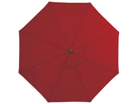 Palm Springs Rattan Aluminum 9 Market Umbrella Push Button Tilt Really Red Olefin Venetian Gold