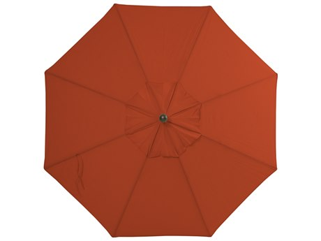 Palm Springs Rattan Aluminum 9 Market Umbrella Push Button Tilt Burnt Orange Polyester Venetian Gold