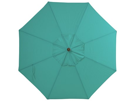 Palm Springs Rattan Aluminum 9 Market Umbrella Push Button Tilt Aqua Polyester Venetian Gold