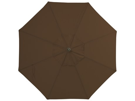 Palm Springs Rattan Aluminum 9 Market Umbrella Push Button Tilt Chocolate Polyester Venetian Gold