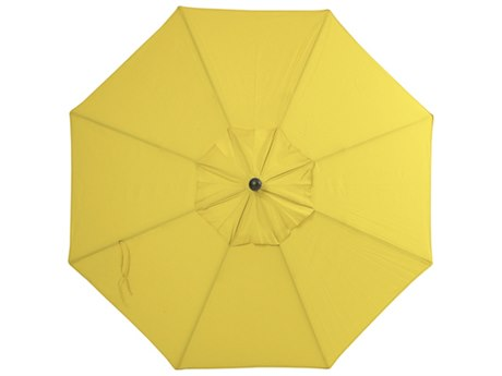Palm Springs Rattan Aluminum 9 Market Umbrella Push Button Tilt Lemon Polyester Venetian Gold