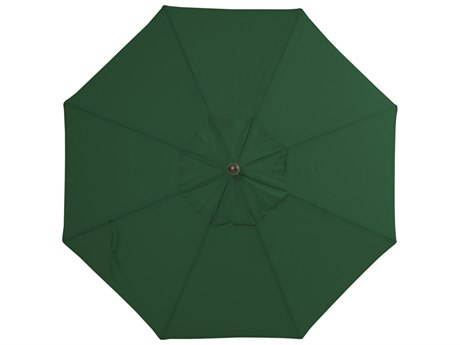 Palm Springs Rattan Aluminum 9 Market Umbrella Push Button Tilt Forest Green Polyester Venetian