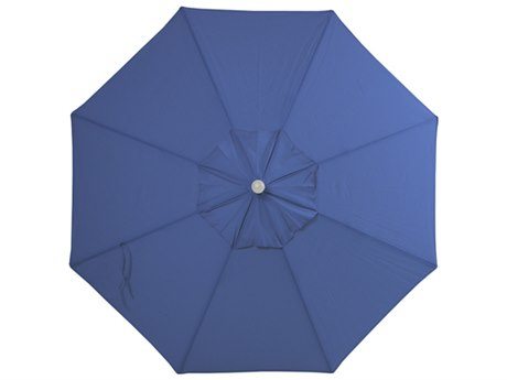Palm Springs Rattan Aluminum 9 Market Umbrella - Push Button Tilt Blue Sky Olefin White