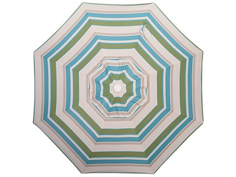 Palm Springs Rattan Aluminum 9 Market Umbrella Push Button Tilt Ocean Breeze Stripe Polyester White