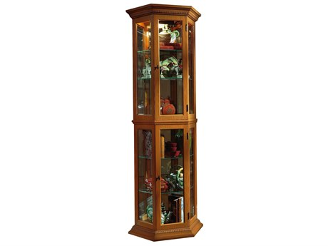 Pulaski English Oak Trapezoid Mirrored Curio
