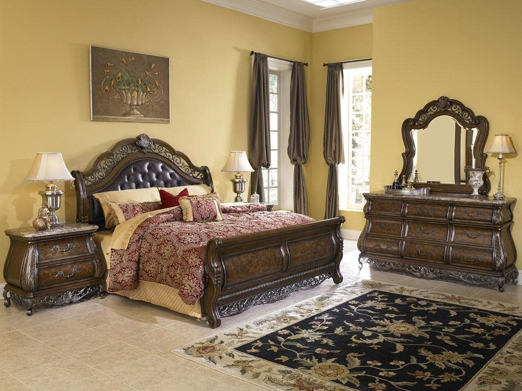 pulaski bedroom furniture pulaski birkhaven brown sleigh bed bedroom set pu991brk5set 12946