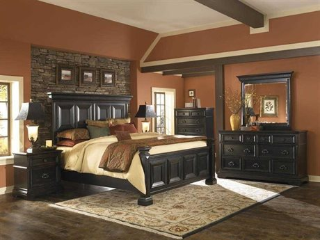 Pulaski Brookfield Black Panel Bed Bedroom Set