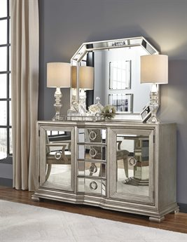 Pulaski Couture Silver Rectangular Sideboard & Mirror Set