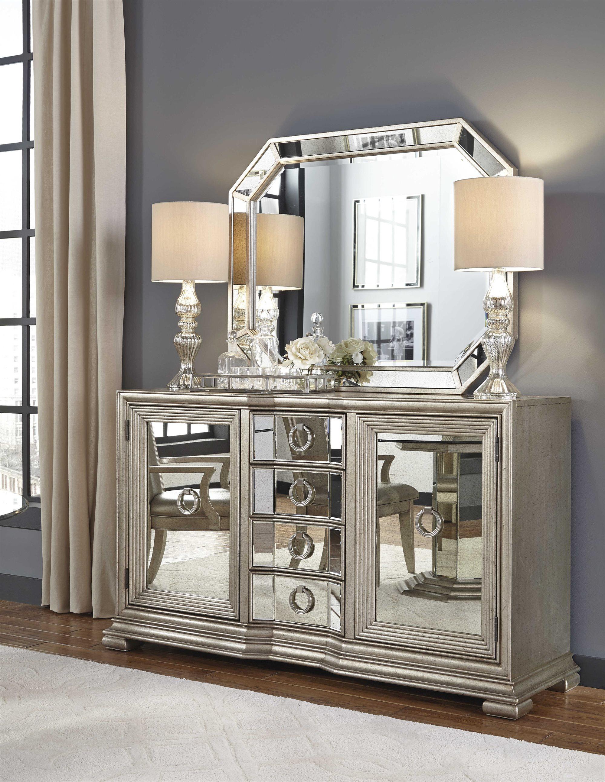 Pulaski Couture Silver Rectangular Sideboard Amp Mirror Set