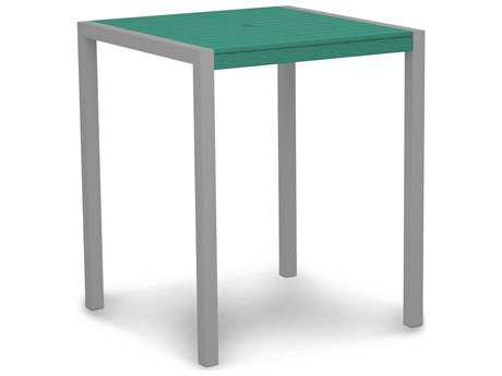 POLYWOOD® Euro Recycled Plastic 36 Square Bar Table with Umbrella Hole