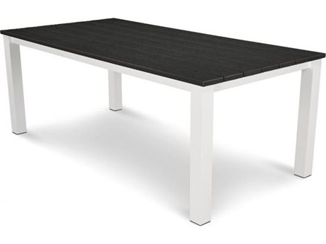 POLYWOOD® Harvest Recycled Plastic 78''W x 39''D Rectangular Dining Table with Umbrella Hole