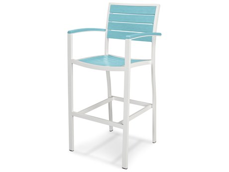 POLYWOOD® Euro Recycled Plastic Aluminum Arm Bar Stool