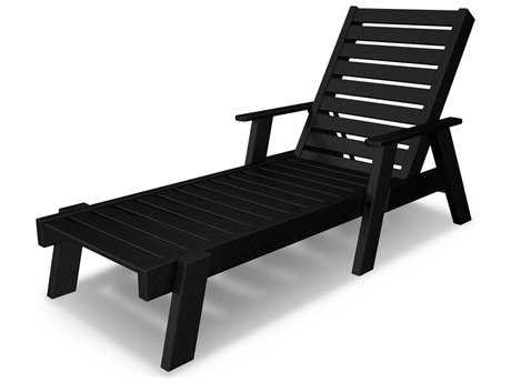 POLYWOOD® Captain Recycled Plastic Arm Chaise Lounge