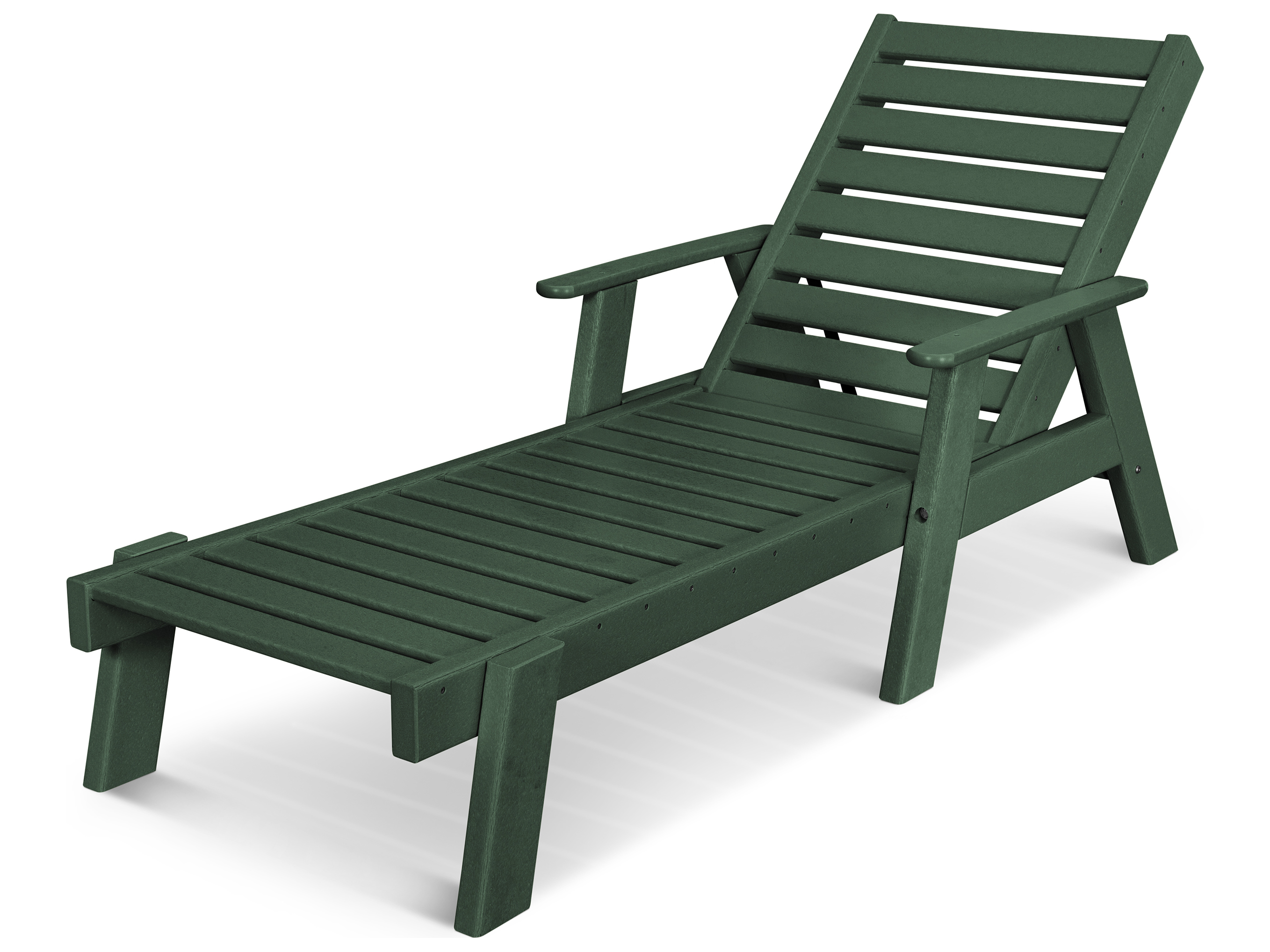 Polywood 174 Captain Recycled Plastic Arm Chaise Lounge
