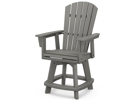 POLYWOOD® Nautical Recycled Plastic Adirondack Swivel Counter Chair