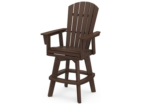 POLYWOOD® Nautical Recycled Plastic Adirondack Swivel Bar Chair