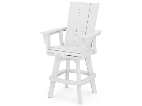 POLYWOOD® Modern Recycled Plastic Adirondack Swivel Bar Chair PatioLiving