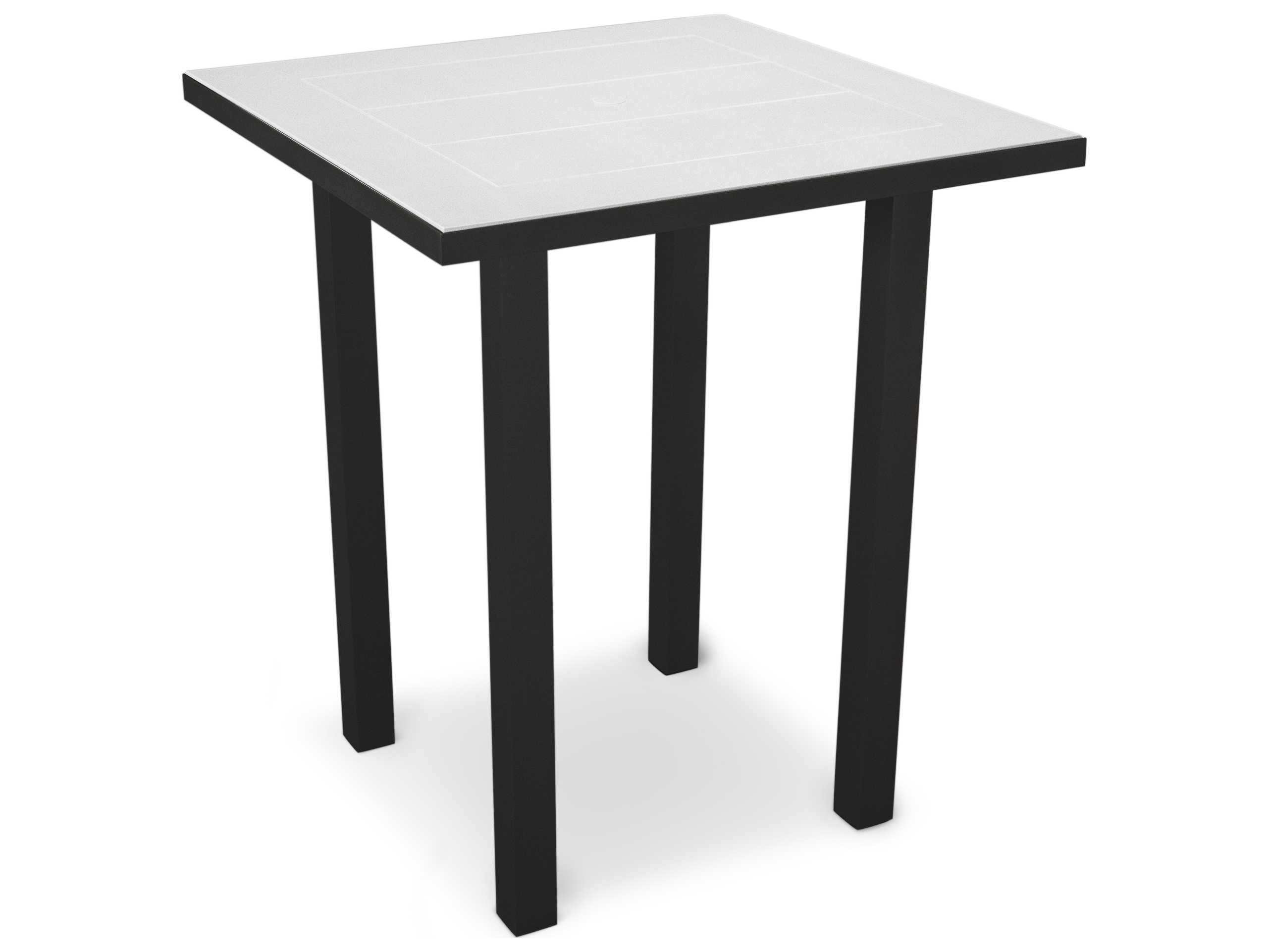 polywood euro solid36 square aluminum bar table pwat122. Black Bedroom Furniture Sets. Home Design Ideas
