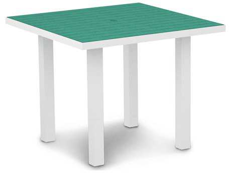 POLYWOOD® Euro Recycled Plastic 36 Square Dining Table with Umbrella Hole