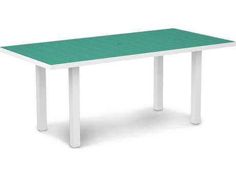 POLYWOOD® Euro Recycled Plastic 72''W x 36''D Rectangular Dining Table with Umbrella Hole
