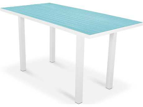 POLYWOOD® Euro Recycled Plastic 72''W x 36''D Rectangular Counter Height Table with Umbrella Hole