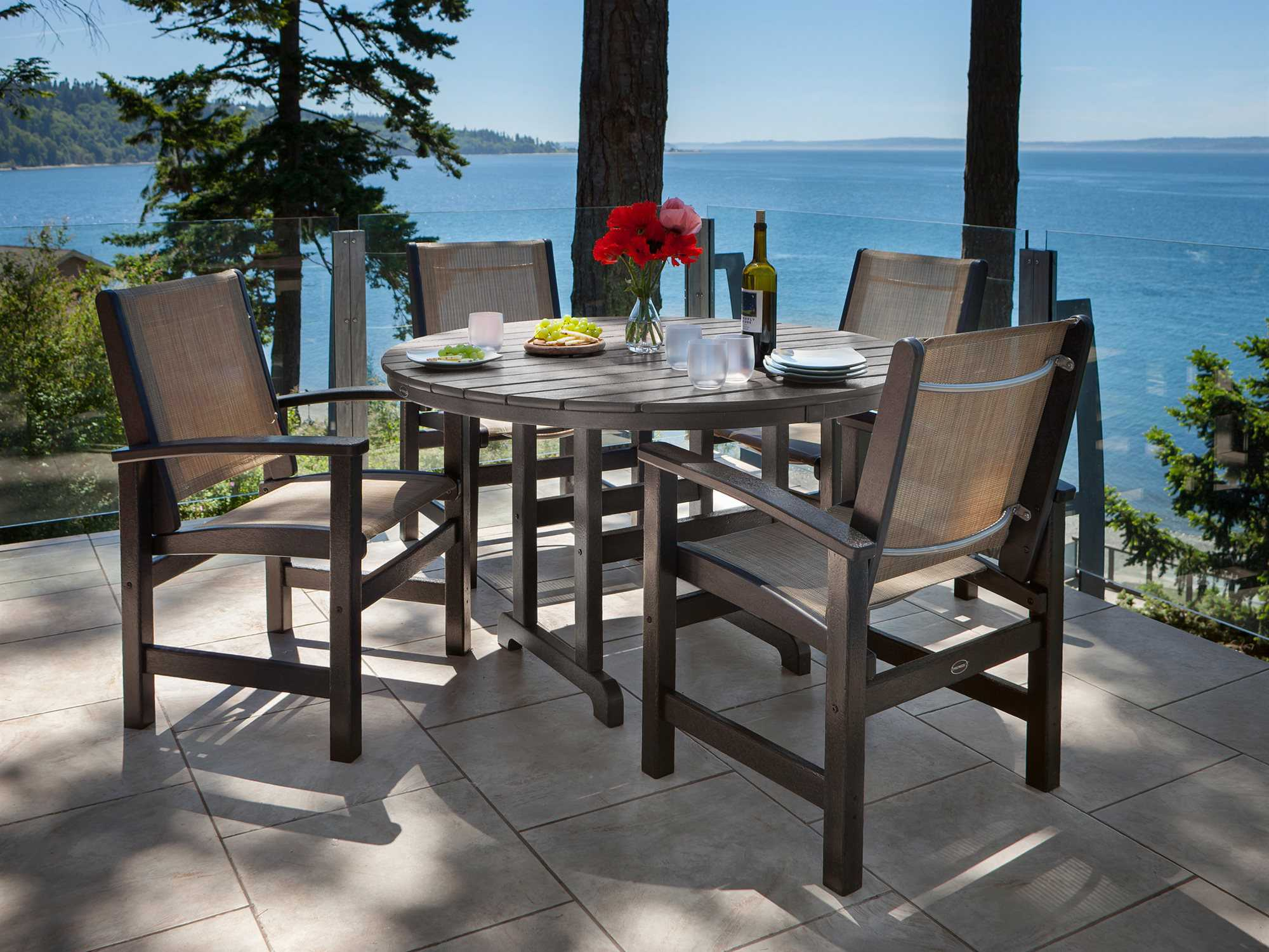 Patio Tables Dining: POLYWOOD® La Casa Cafe Recycled Plastic 48 Round Dining
